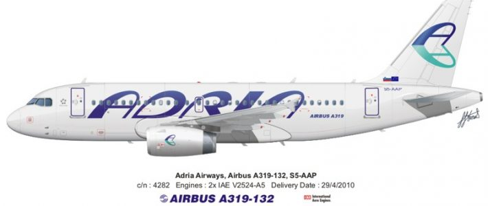 New A319 for Adria Airways.